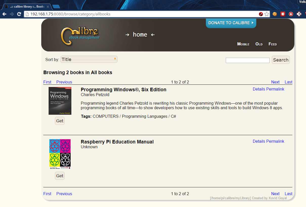Portable Online Library with Calibre and Raspberry Pi