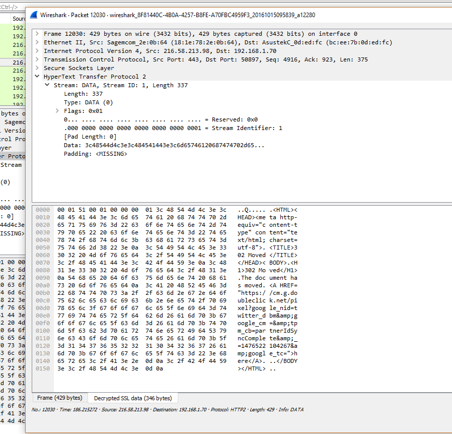 WireShark HTTP/2 capture