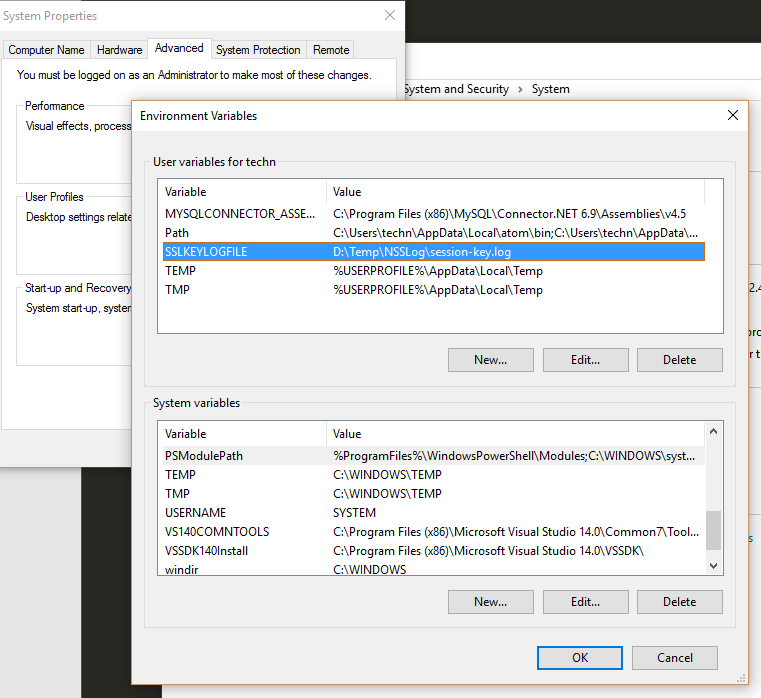 Windows environment variable to capture TLS session keys