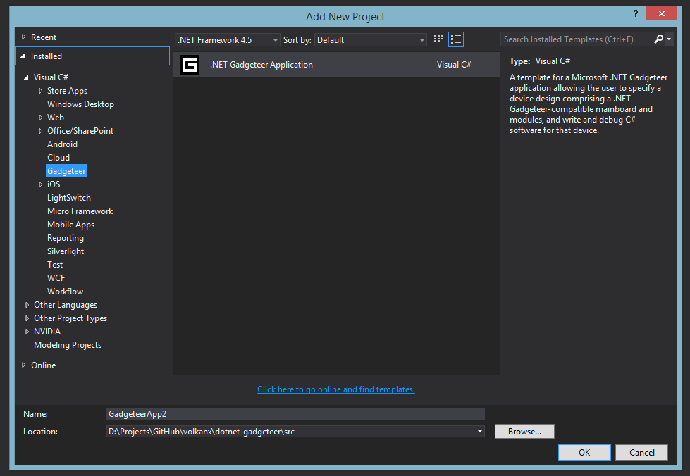 Visual Studio Add Gadgeteer Project